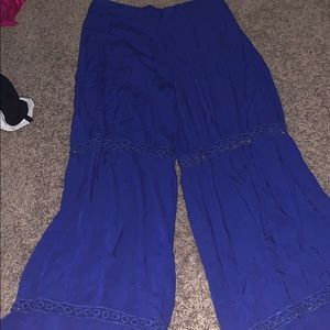 Royal Blue Flowy Pants with Cutout designs